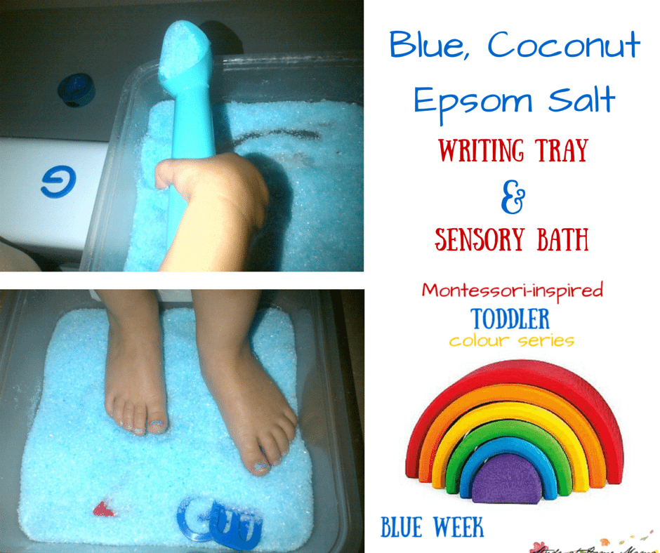 Blue, Coconut Epsom Salt Writing Tray & Sensory Bath from Montessori-inspired Toddler Blue Colour Study