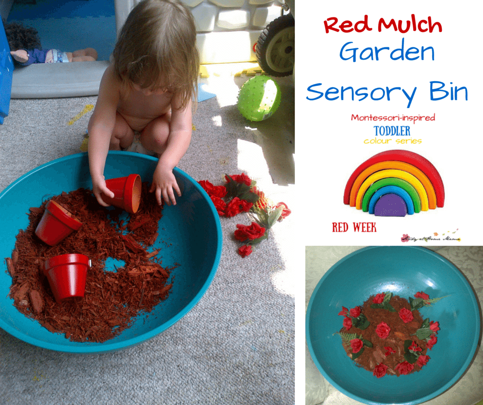 Red Mulch Garden Sensory Bin - part of a Montessori-inspired Toddler Red Week