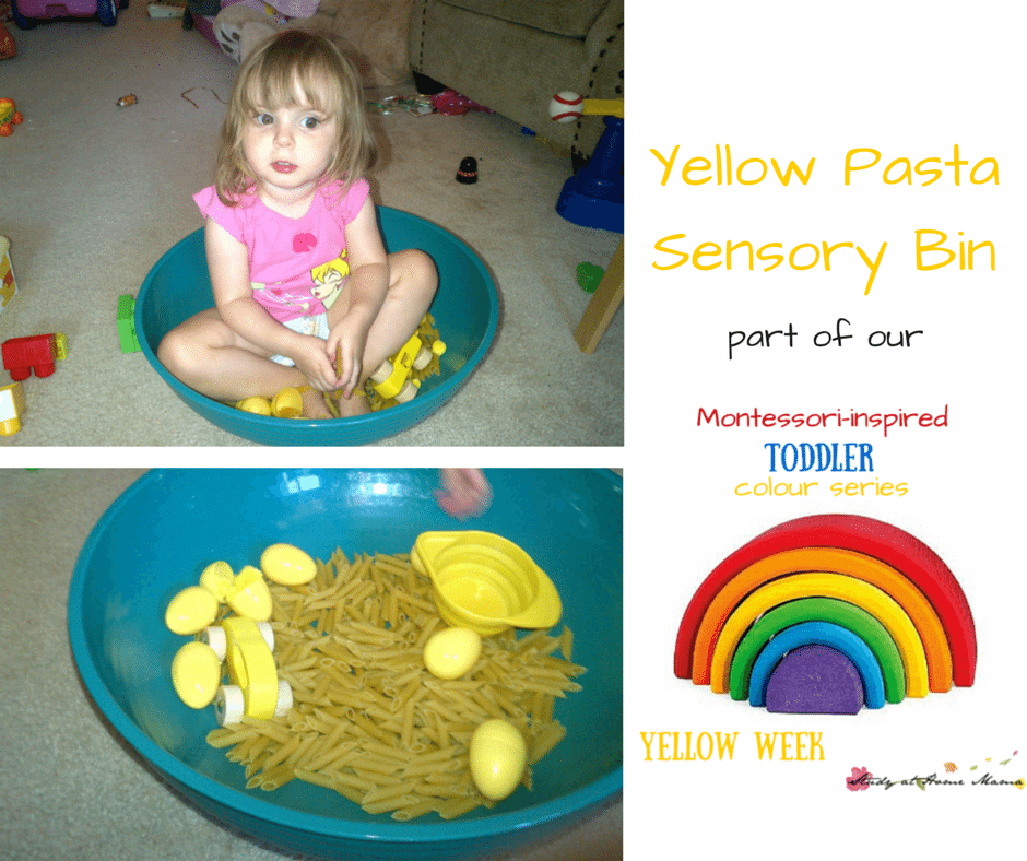 Yellow Pasta Sensory Bin