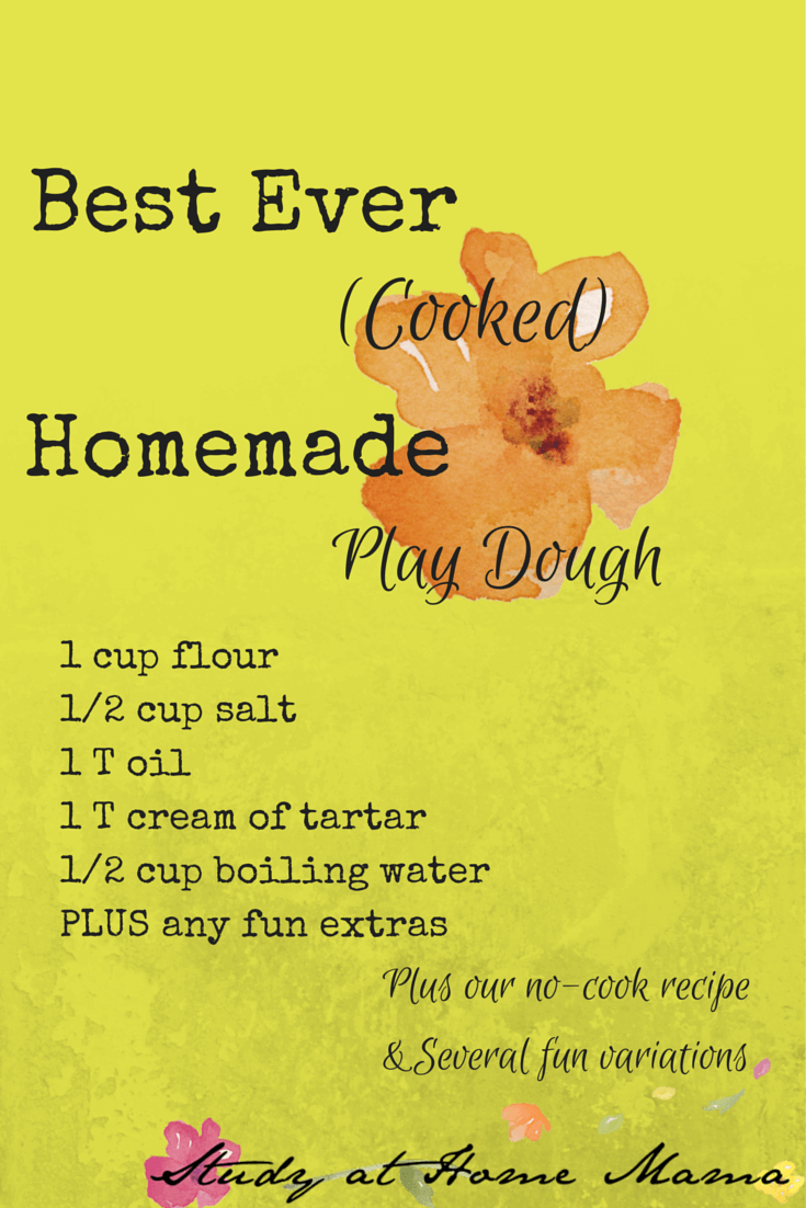 Best Ever Cooked Homemade Play Dough Recipe PLUS No Cook Recipe and Several Fun Play Dough Variations