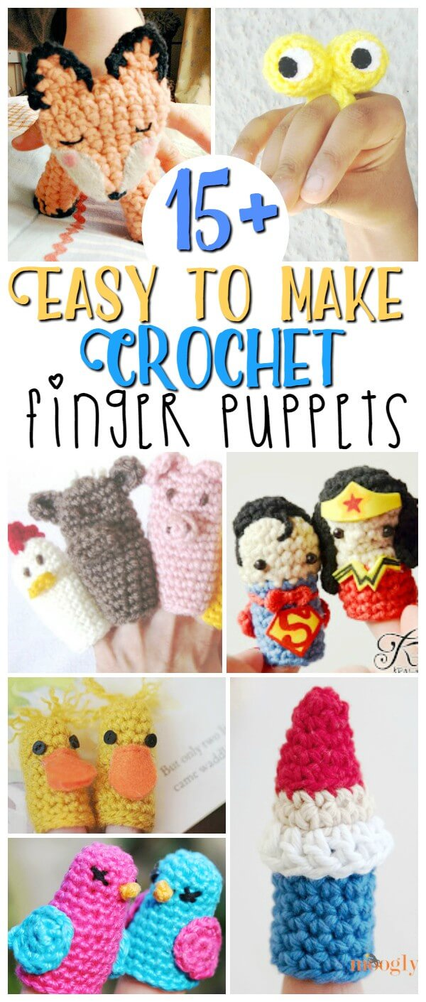 15 Easy to Make Crochet Finger Puppets - the perfect easy homemade toy, use them for finger plays or story baskets