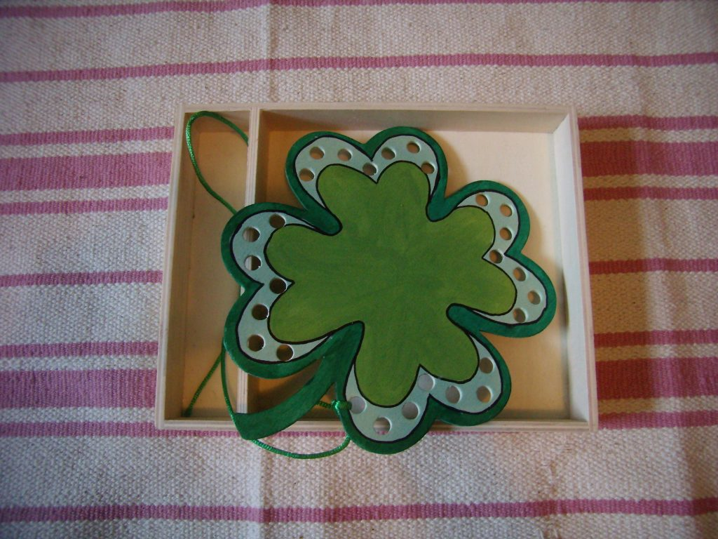 Shamrock Lacing, one of many Montessori-inspired Toddler St Patricks Day Activities