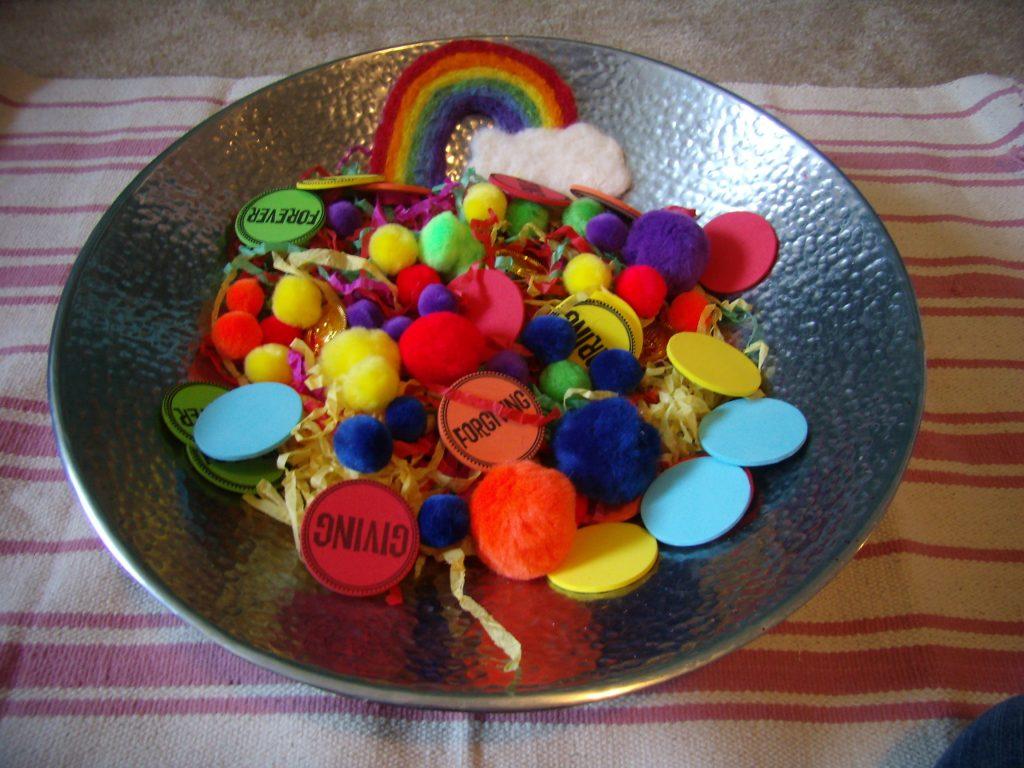 St Patrick's Day sensory bin
