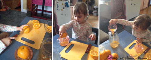 Making orange juice in the kids kitchen, part of a Montessori Practical Life series