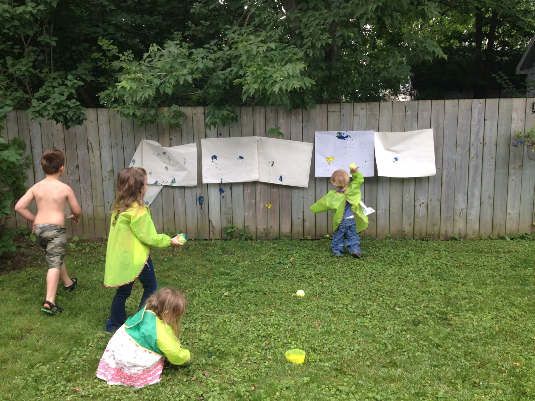 tennis ball painting at Study-at-Home Mama