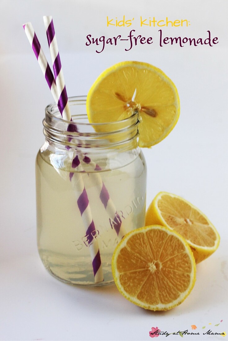 Easy healthy recipe for sugar-free lemonade, a kids' kitchen staple with a free printable recipe for kids to use