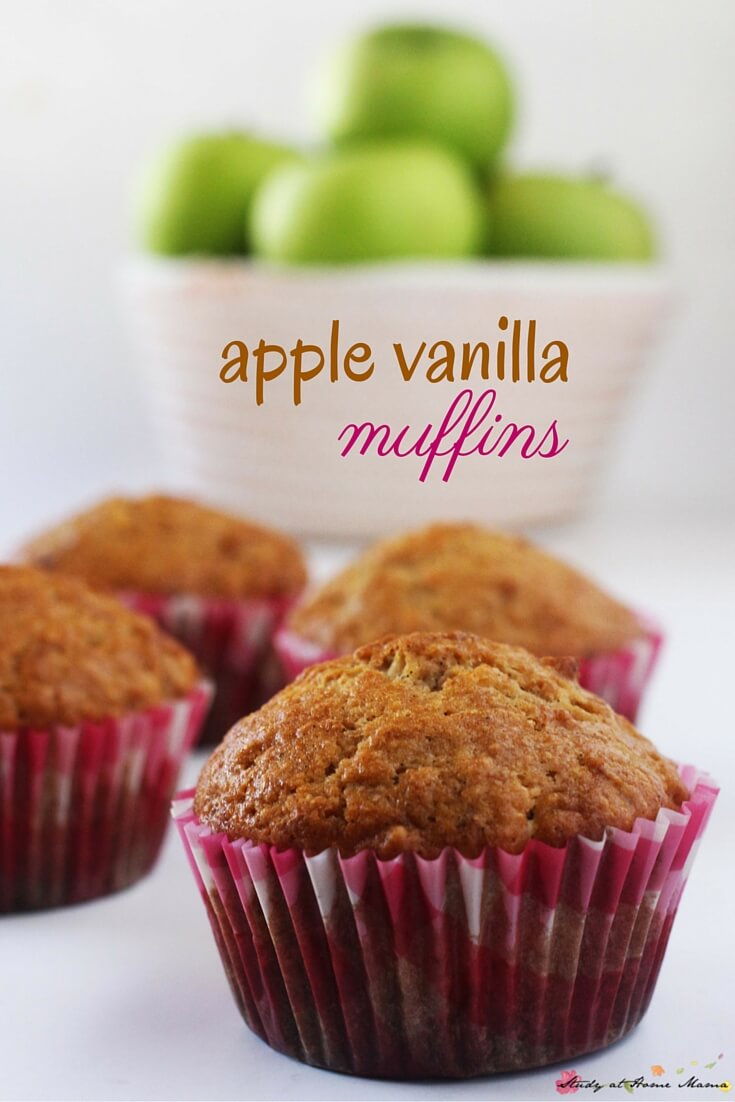 Kids Kitchen: Apple Vanilla Muffins are the perfect fall recipe for breakfast, throwing in lunch boxes, or just enjoying as a healthy snack.