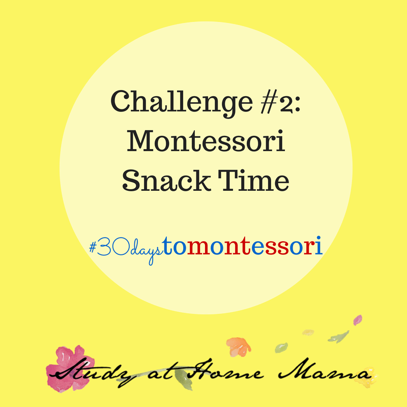 Encourage independence and manners at snack time, with these tips for a Montessori teacher. Day 3 of a 30 Day Challenge to Bring Your Heart & Home to Montessori.