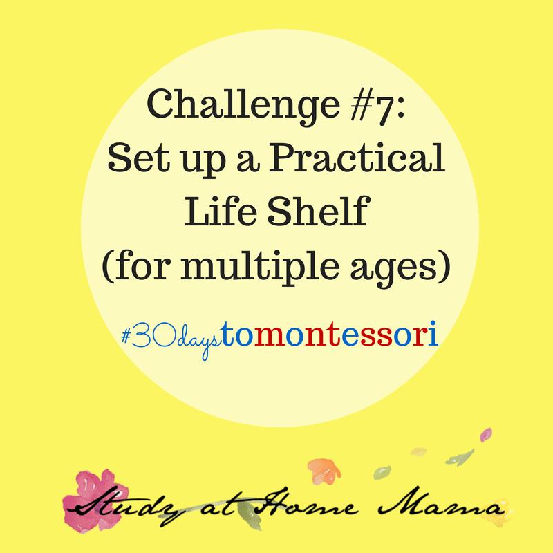 Set up a practical life shelf #30daystoMontessori