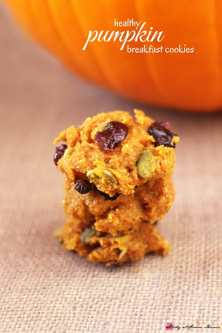 Easy healthy recipe for pumpkin breakfast cookies, made with real pumpkin, cranberries, pepitos, and no refined sugar. An easy kids' kitchen recipe for fall