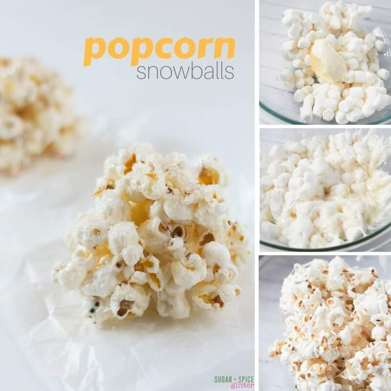 How to make easy popcorn snowballs - a fun twist on Rice Krispie Treats