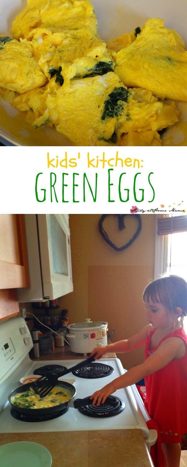 An easy healthy recipe for kid-made green eggs, perfect for a Dr Seuss-inspired breakfast. Teach your child how to cook eggs on the stove independently