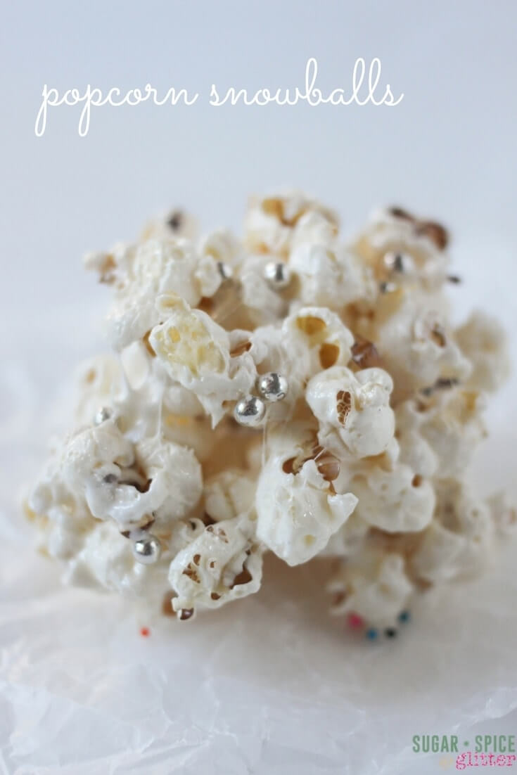 These popcorn snowballs are a delicious and easy party food that takes minutes to make