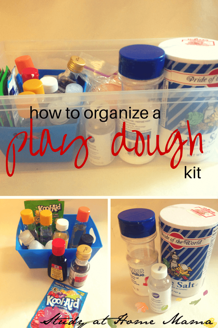 How I Organize a Play Dough Kit: An essential kit for every home, daycare, or kindergarten. A quick and easy play dough kit with all of the supplies at hand to make home made play dough whenever you want -- no more searching for ingredients!