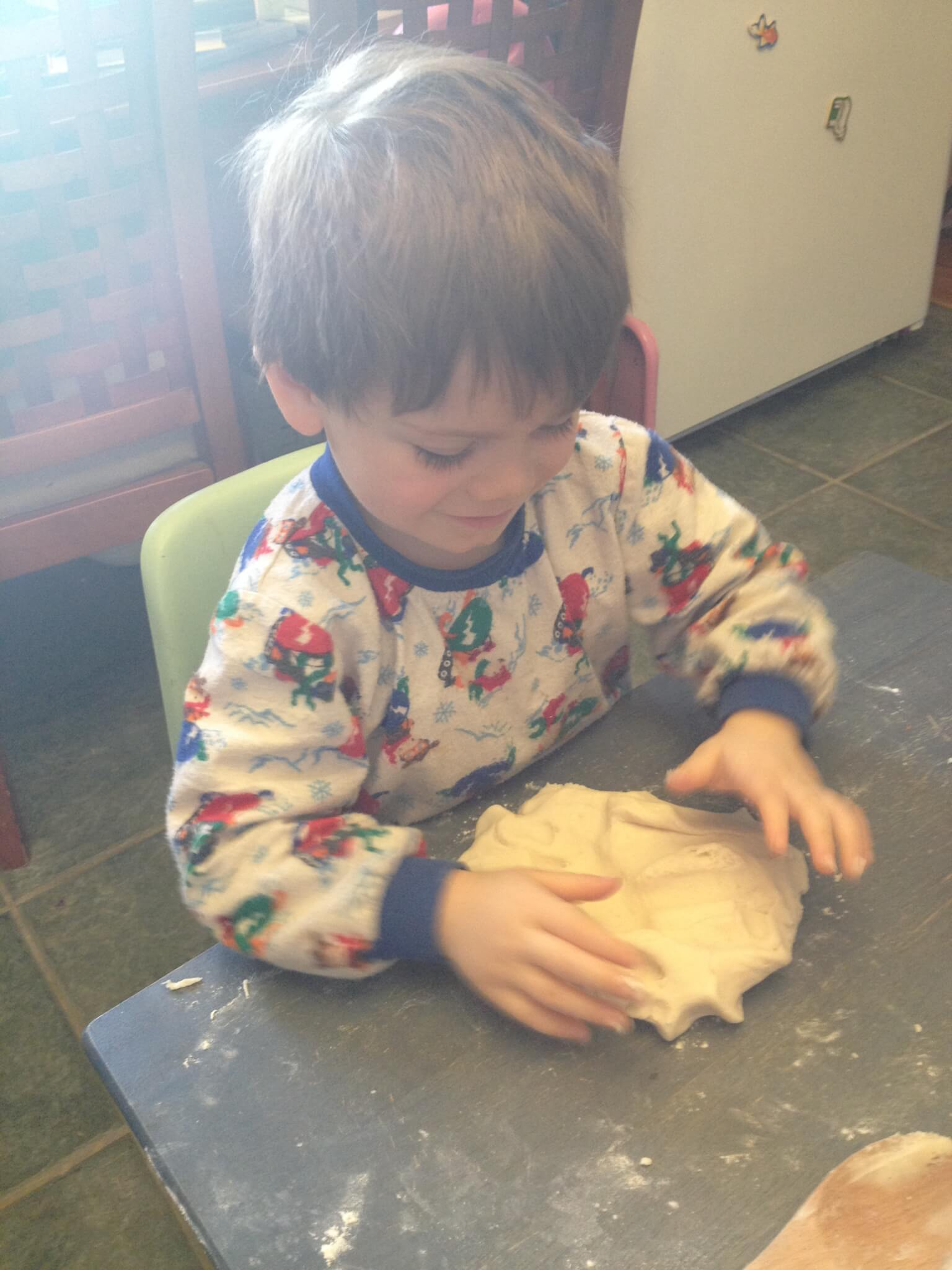 Let kids help make homemade play dough - an amazing play recipe with great sensory benefits!