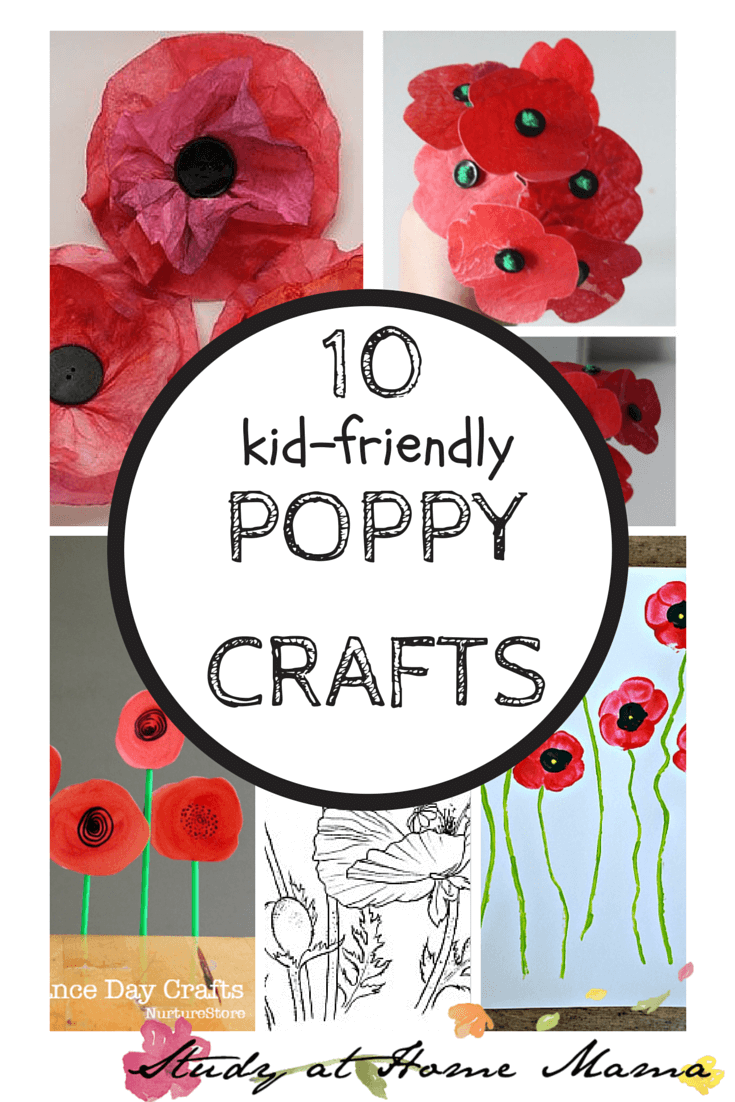 10 Kid-Friendly Poppy Crafts from Study at Home Mama