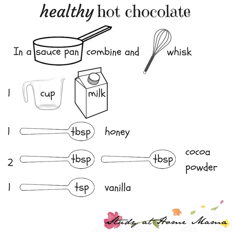 Healthy hot chocolate printable recipe for kids