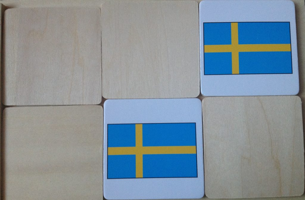 Matching Scandanavian flags as part of a Frozen preschool unit study