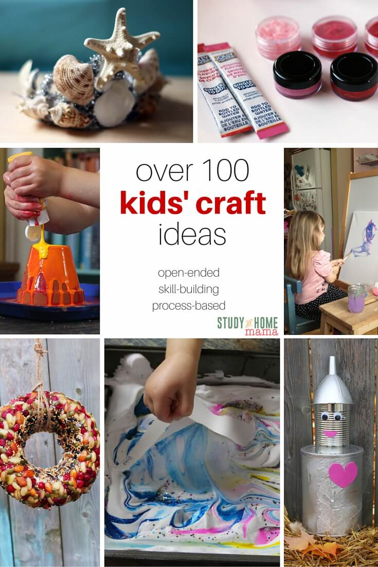Over 100+ Kids' Craft Ideas all in one place! Toddler crafts, preschool crafts, and some crafts for grade-school kids. Each and every craft benefits children in some way, either with fine motor skill development, math skills, or even emotional intelligence. Crafts for girls and boys alike, as well as some homemade toys.
