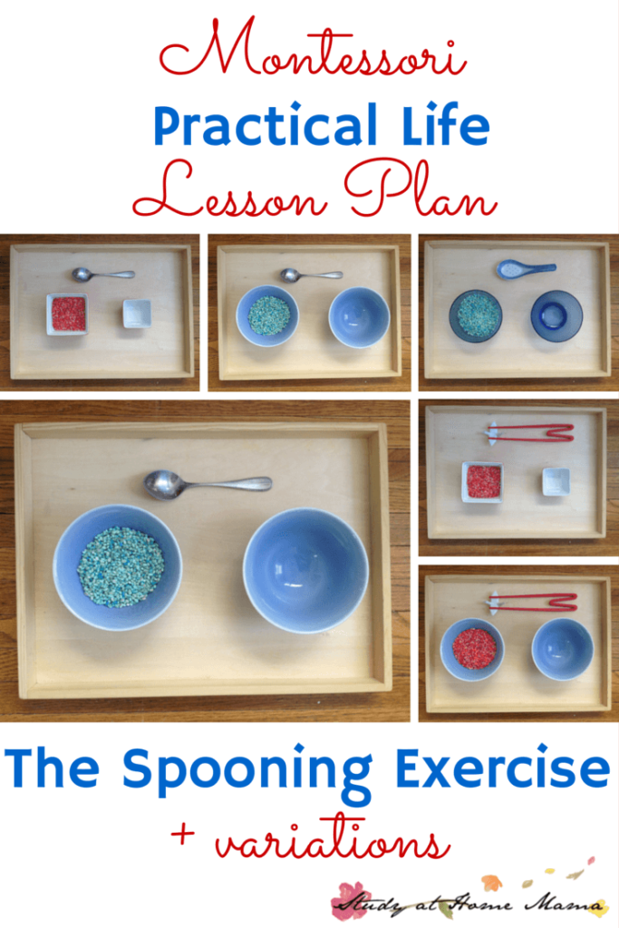 "Montessori Practical Life Lesson Plan: the Spooning Exercise. Teaching orderly work and precision are great gross motor activities that encourage children to practice ""control of error"" - a vital Montessori skill. This post also goes into all spooning variations, including chopsticks."