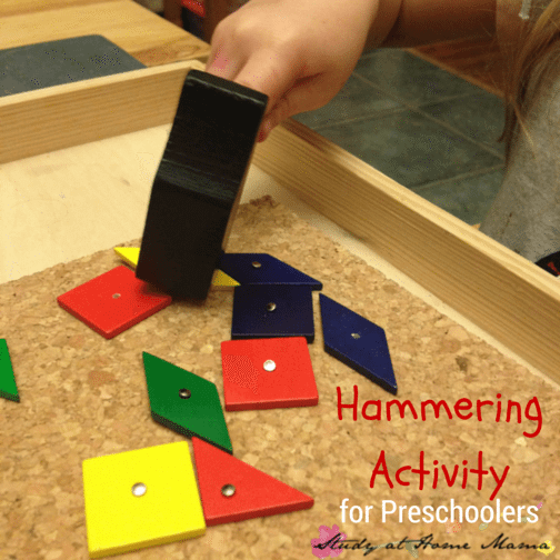 Montessori Practical Life - Hammering Activity for Preschoolers, and practical lesson plan. Teach your child how to use a hammer and nail safely with this easy and fun set-up