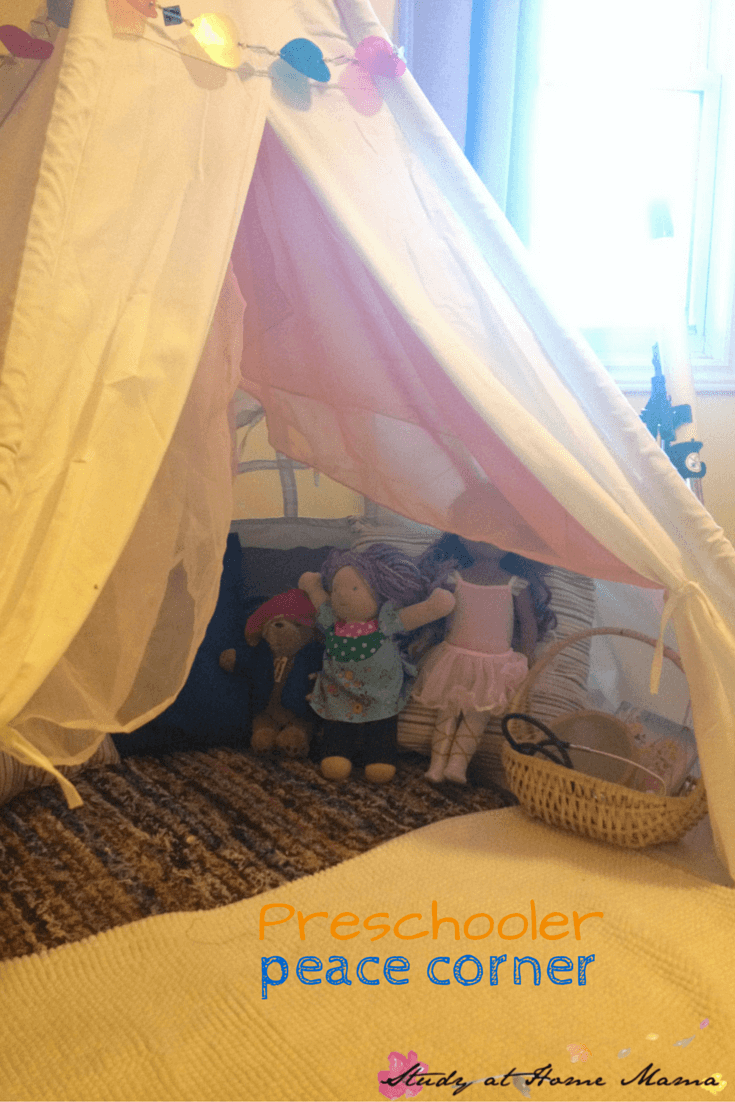 Preschooler Peace Corner: EQ set-up for the home.