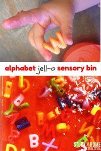 Alphabet Jell-O Sensory Bin