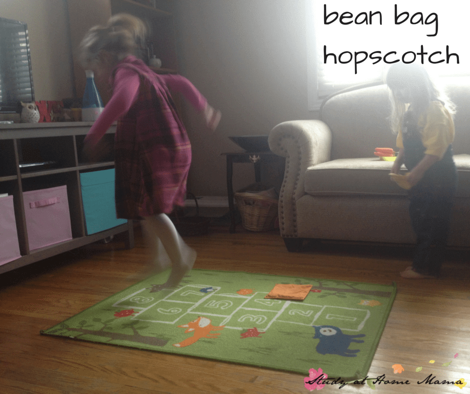 bean bag hopscotch: one of seven indoor bean bag games and activities