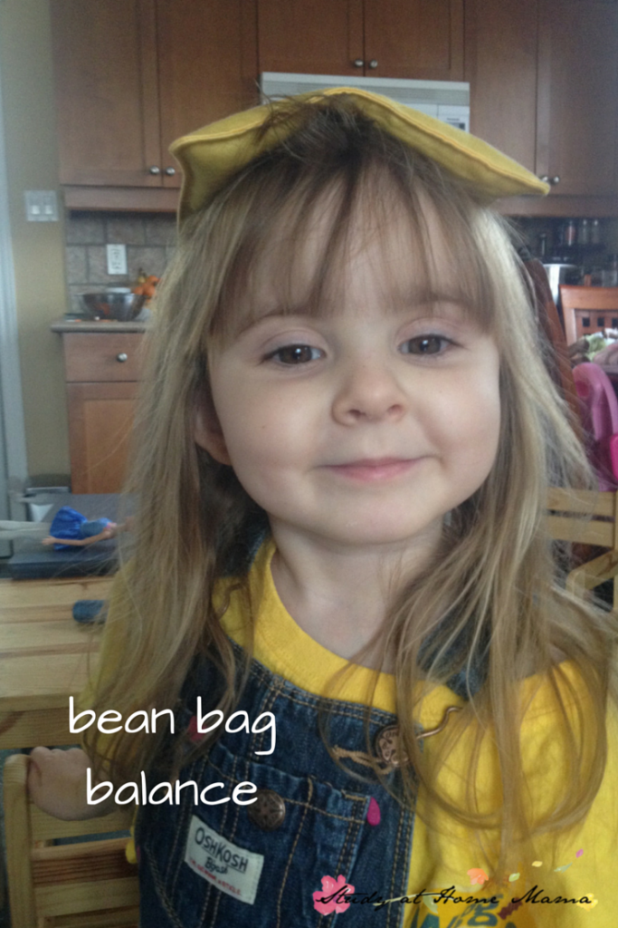 bean bag balance: one of seven indoor bean bag games and activities
