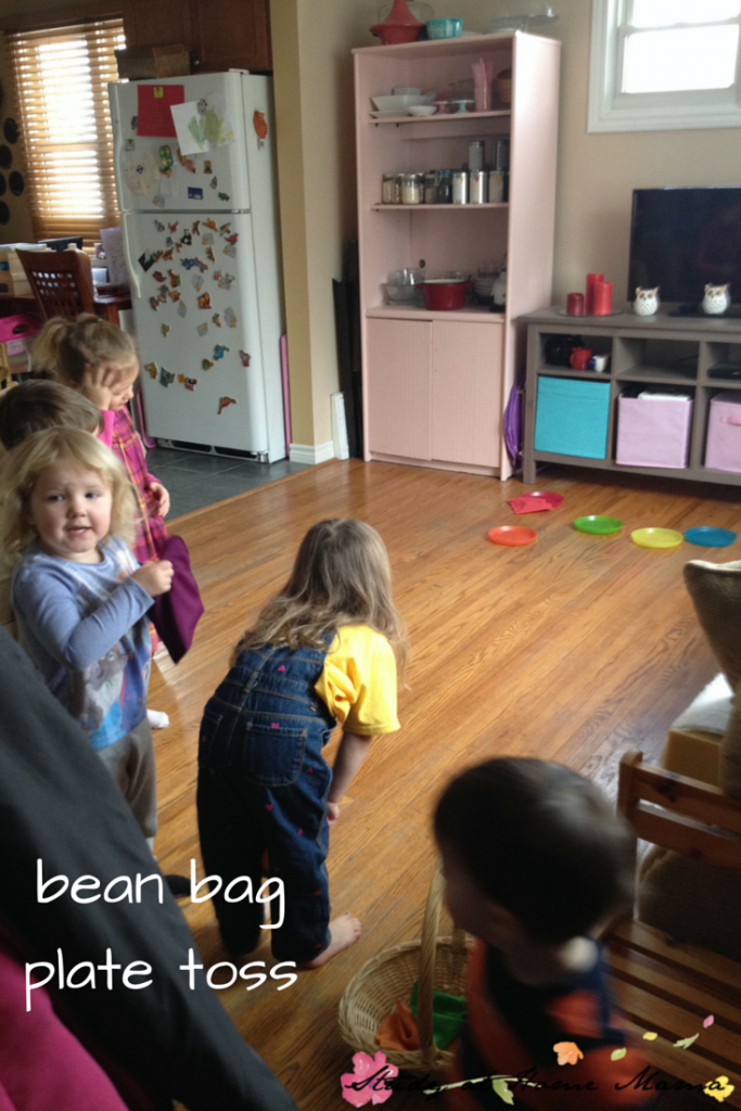 bean bag plate toss: one of seven indoor bean bag games and activities