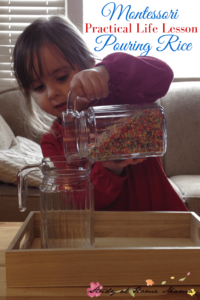 Montessori Practical Life Lesson: Pouring Rice