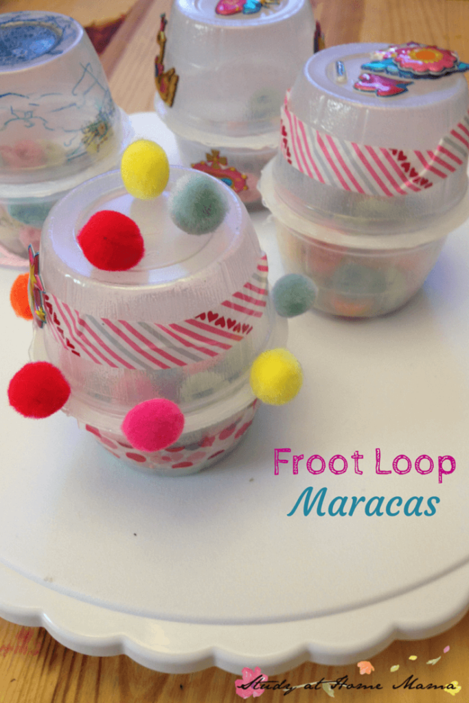 Froot Loop Maracas: upcycled craft from the 7 Ways to Play with Froot Loops series