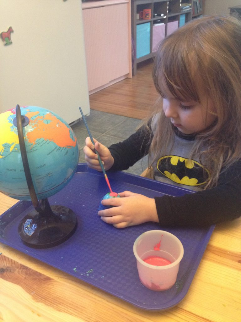 Painting DIY Montessori Continent Globes