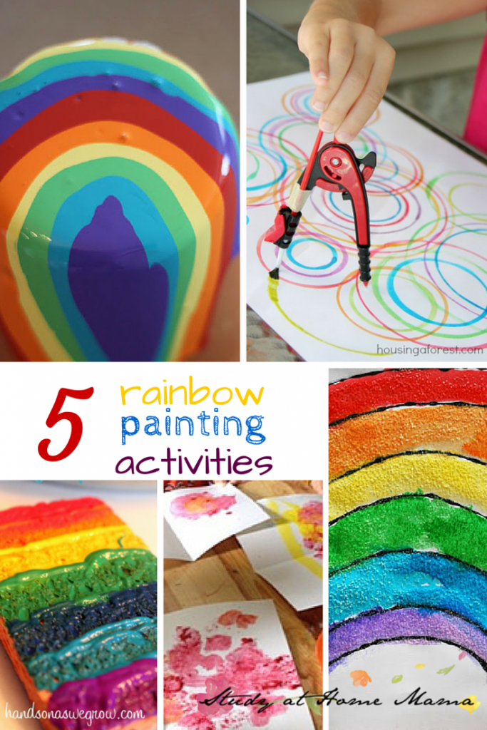 5 Rainbow Painting Activities -- part of 50+ rainbow activities and snacks!