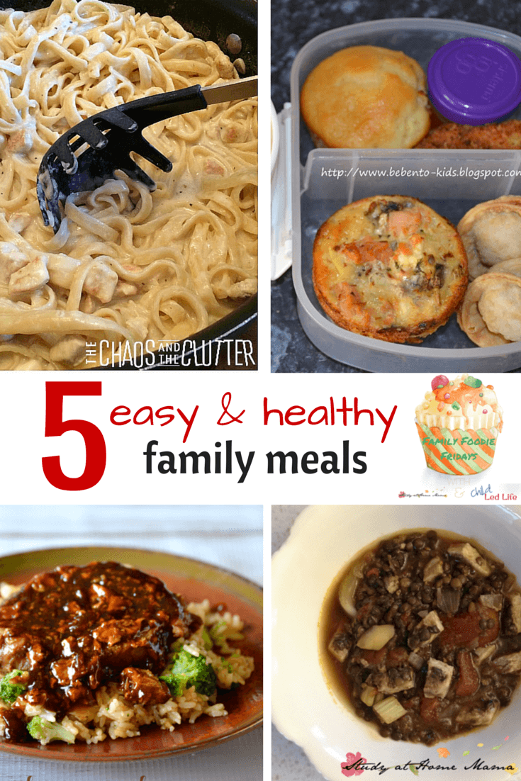 5 Easy & Healthy Family Meals - two crock-pot meals, one kid-made soup, an easy muffin-tin quiche, and a stew! Our favourite selections from our weekly Friday Family Foodie party!