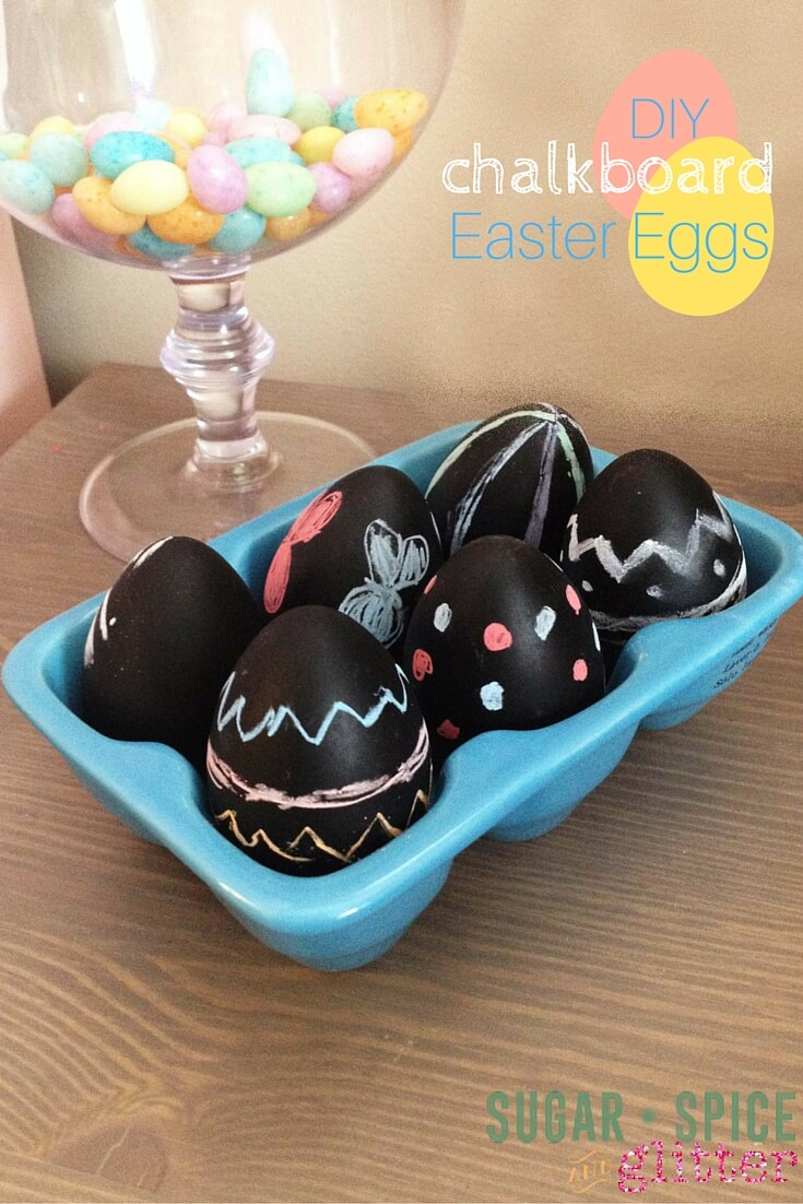 DIY Chalkboard Easter Eggs - a stunning & simple Easter craft for kids. Adult prepares the chalkboard Easter Egg, & the kids decorate over & over again!