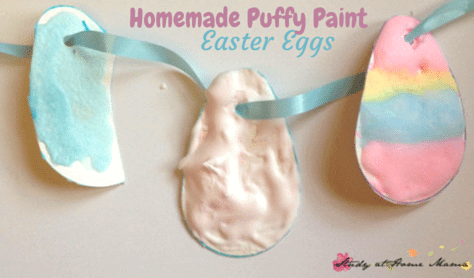 Easter Egg Craft made with Homemade Puffy Paint - using Montessori materials, this is a great fine motor activity, sensory play, & process-based craft