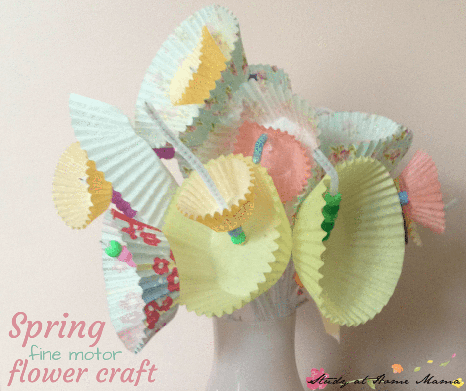 This spring flower craft for kids is also a fine motor activity -- would be a perfect kid-made gift for Mother's Day!