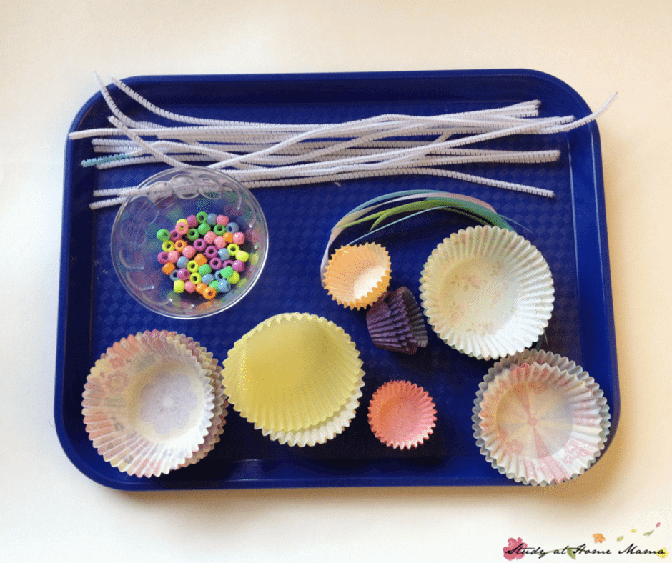 Craft supplies for an easy spring flower craft for kids -- a great Mother's Day craft for kids!
