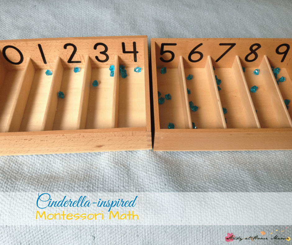 Montessori Math inspired by Disney's Cinderella, part of a series of Disney Preschool Learning Activities