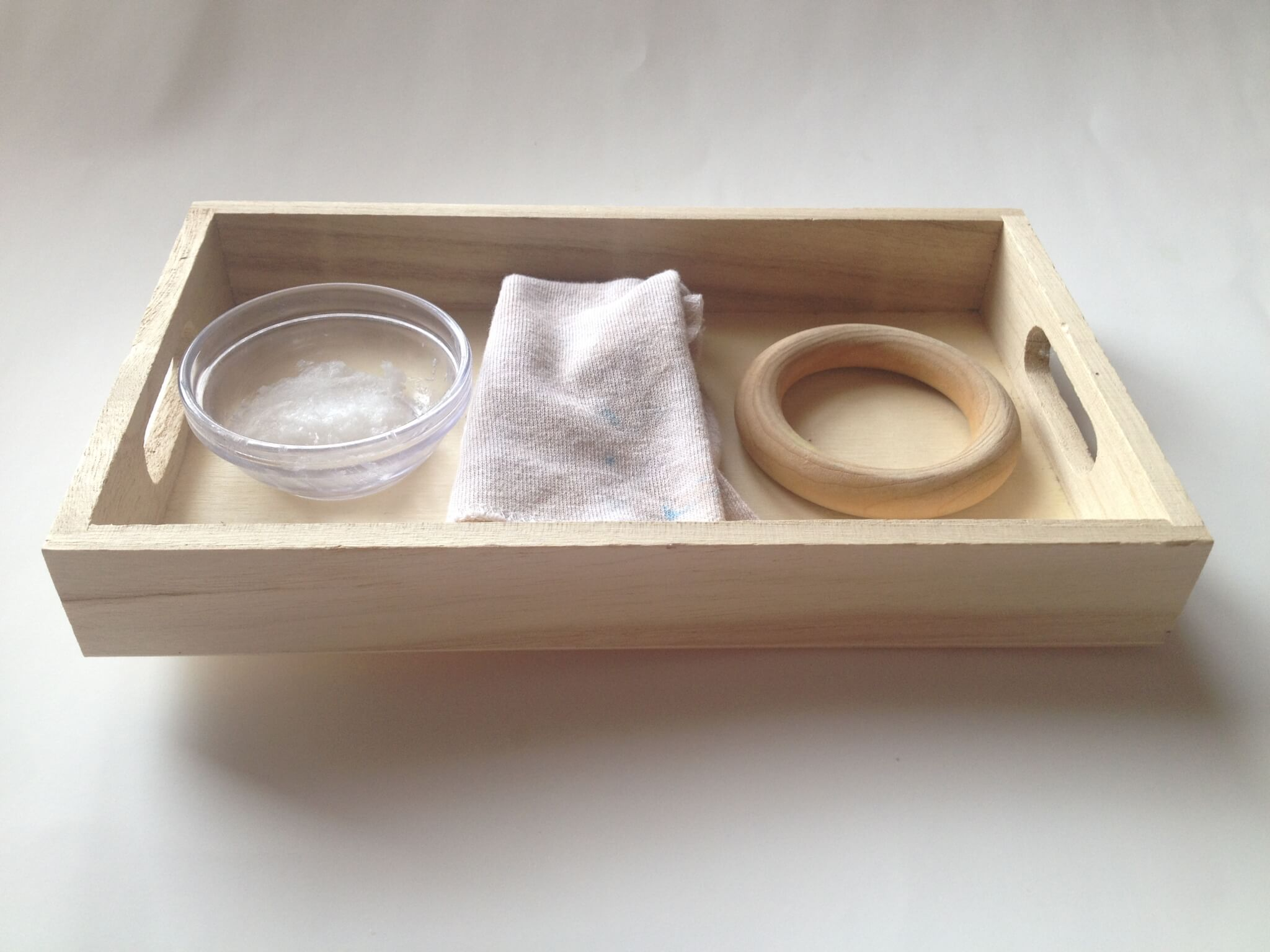 polishing wood practical life tray -- for making your own diy waldorf hand kite for spring