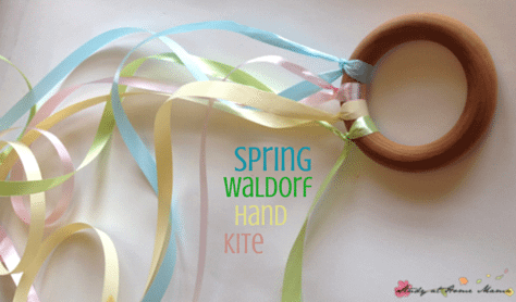 DIY Spring Waldorf Hand Kite - an easy homemade toy that kids can help make!