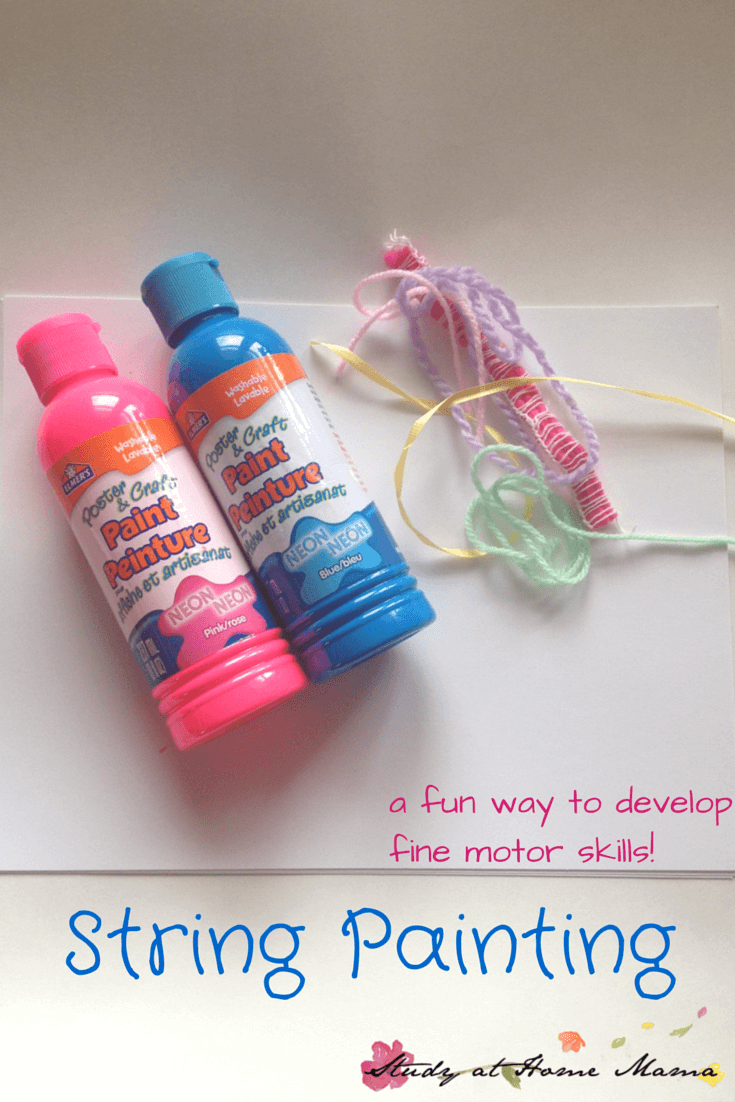 String Painting a fun way to develop fine motor skills needed for writing - and a fun, open-ended art project that never disappoints