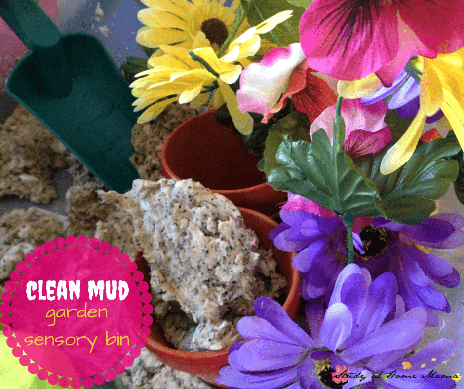 clean mud garden sensory bin - a fun spring sensory bin or summer sensory bin that feels just like mud, but is made with soap!