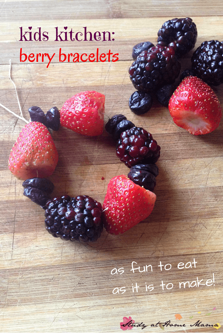 Kids Kitchen: Berry Bracelets! A fun treat to make with kids in the kitchen. A perfect summer snack for kids - in their lunchbox or at the beach.