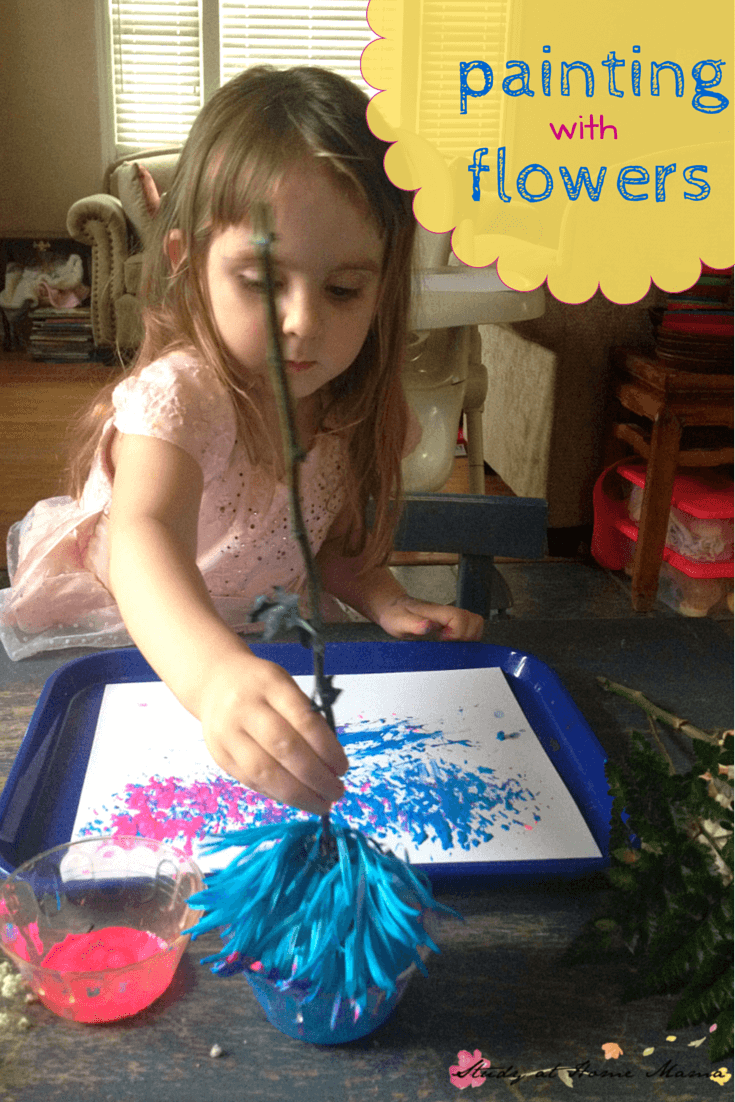Kids Craft Ideas: Painting with flowers as part of exploring botany for kids! This simple hands-on learning teaches children about flowers while they paint.