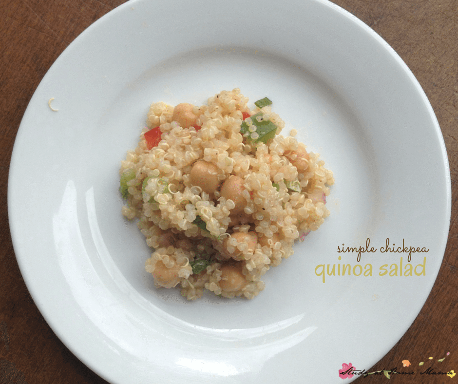 Simple Chickpea Quinoa Salad, an easy healthy lunch recipe with tips on how to cook quinoa