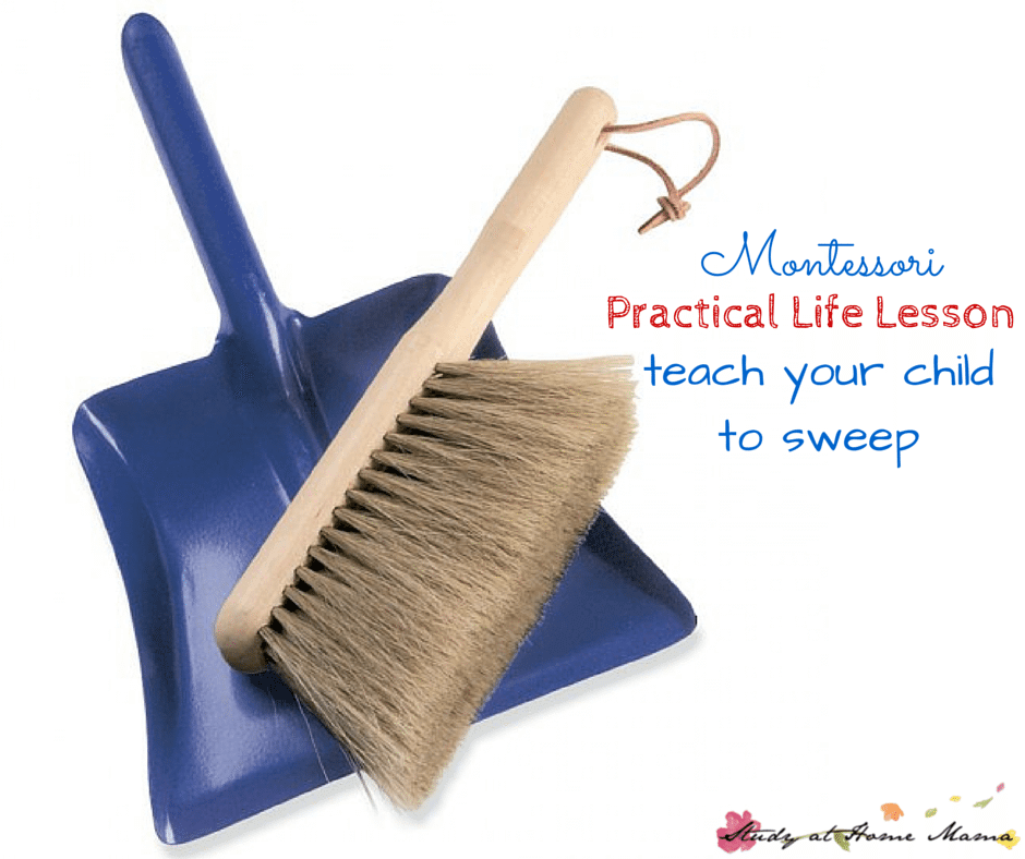 Montessori Practical Life Lesson: Teach Your Child to Sweep - a fun and easy practical life activity that can encourage children to be responsible for their messes, while developing their gross motor skills