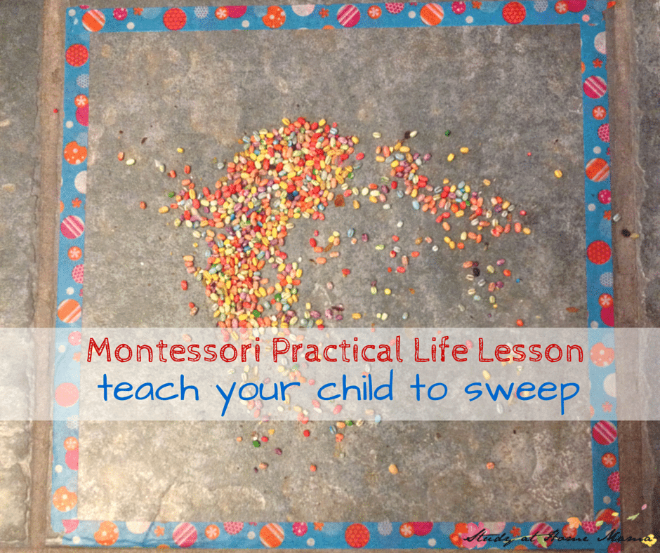 Montessori Practical Life Lesson: teach your child to sweep (she used coloured barley and fun washi tape to make the activity more inviting)
