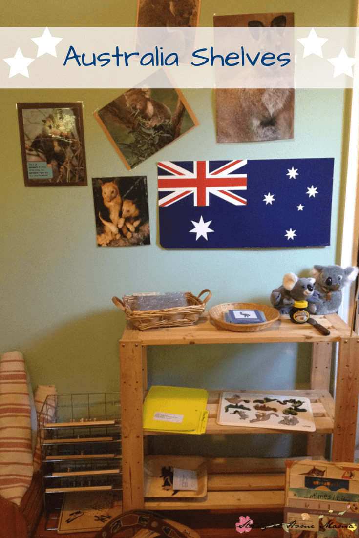 Australia Shelves: Montessori Australia Unit - one way to present an Australia Continent Box and explore geography for kids